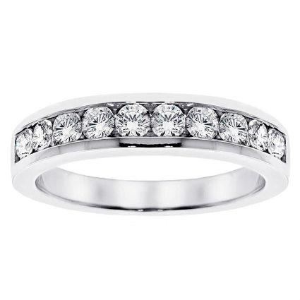 Channel set round cut diamond band