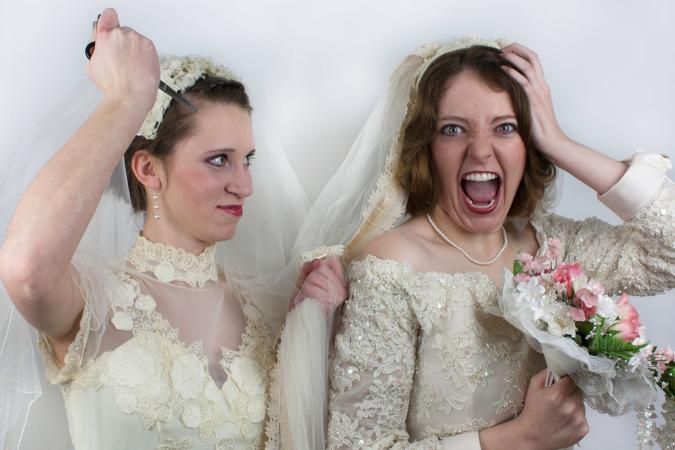 Bride screams