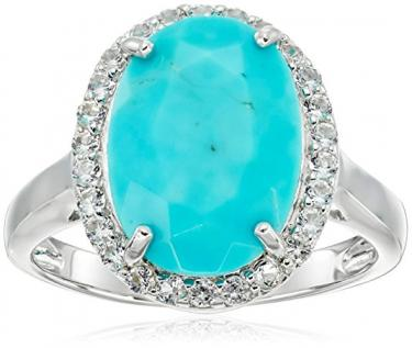 Turquoise and white topaz ring