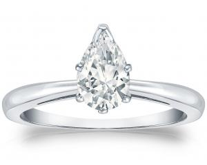 18k White Gold Pear Diamond Ring V-End Prong