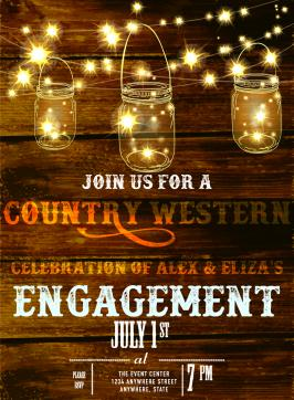Country western engagement invitation