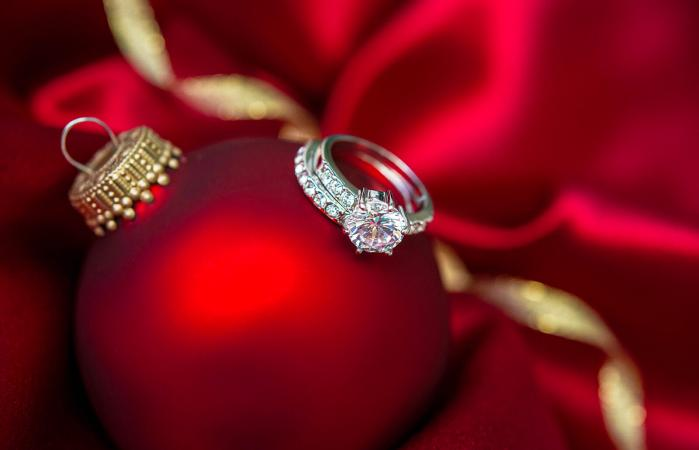 Christmas bauble with engagement ring