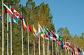 A row of international flags