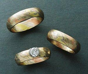 titanium gold gane s men buzz black ring mokume and acid rings