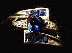 Trilliant shaped blue bridal ring set