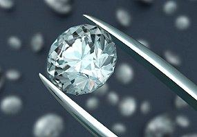 Closeup of a diamond being examined