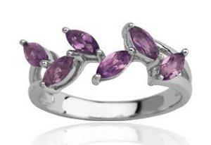 Sterling Silver Leaf Design Amethyst Ring