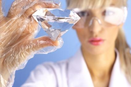 Scientist with diamond