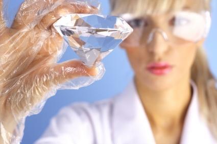 Scientist with diamond