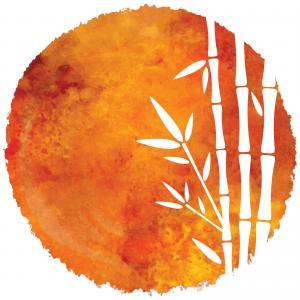 Bambú en ilustración naranja