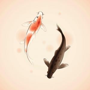 Pintura oriental de peces Koi