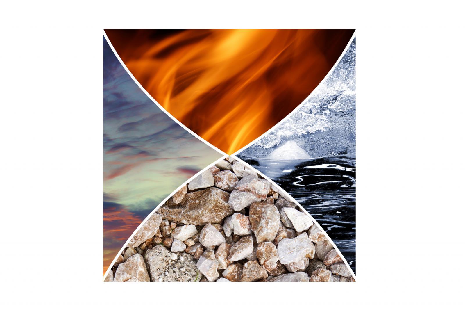 Collage de los cuatro elementos