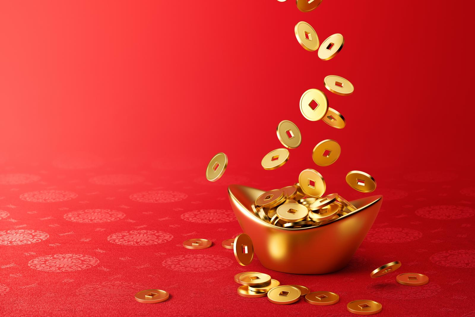 Gold Coins Dropping on Gold Sycee