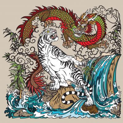 Dragón verde y tigre blanco
