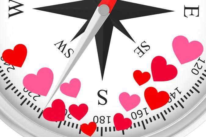 SW dirección brújula y corazónes