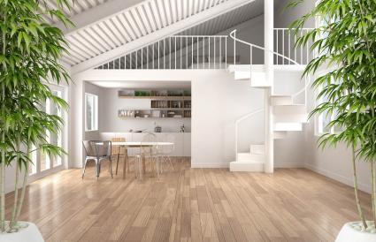 Interior Zen con planta de bambú en maceta