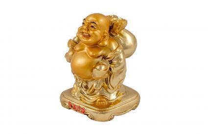 Buda viajero con bolsas de dinero