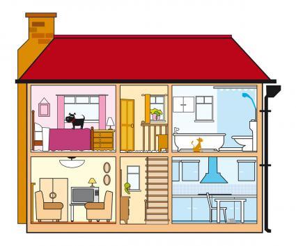 Sección transversal del interior de la casa
