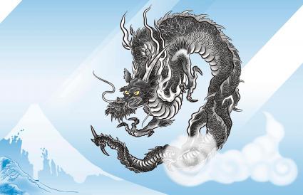Dragón negro japonés frente a una montaña nevada