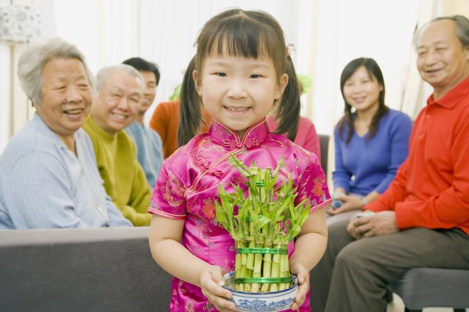 chica con bambú de la suerte