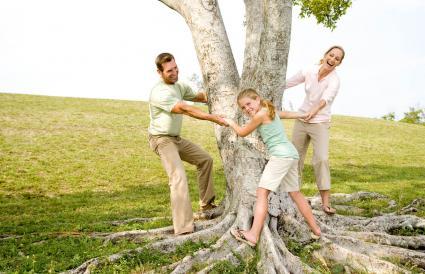 Postura familiar creativa alrededor del árbol