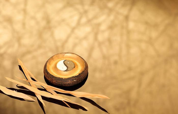 Yin y yang de madera con hojas de bambú