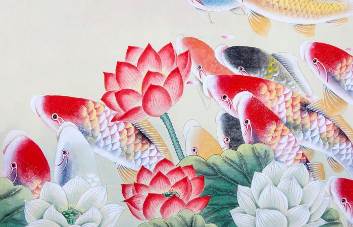 Arte de pez koi y flor de loto