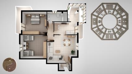 Concepto de feng shui dentro de casa