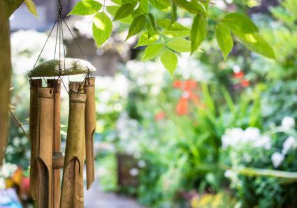 Campana de viento de bambú