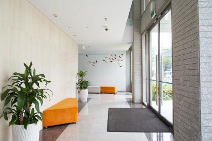 Entrada a la oficina con plantas