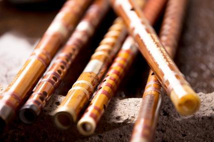 Colección de flautas de bambú