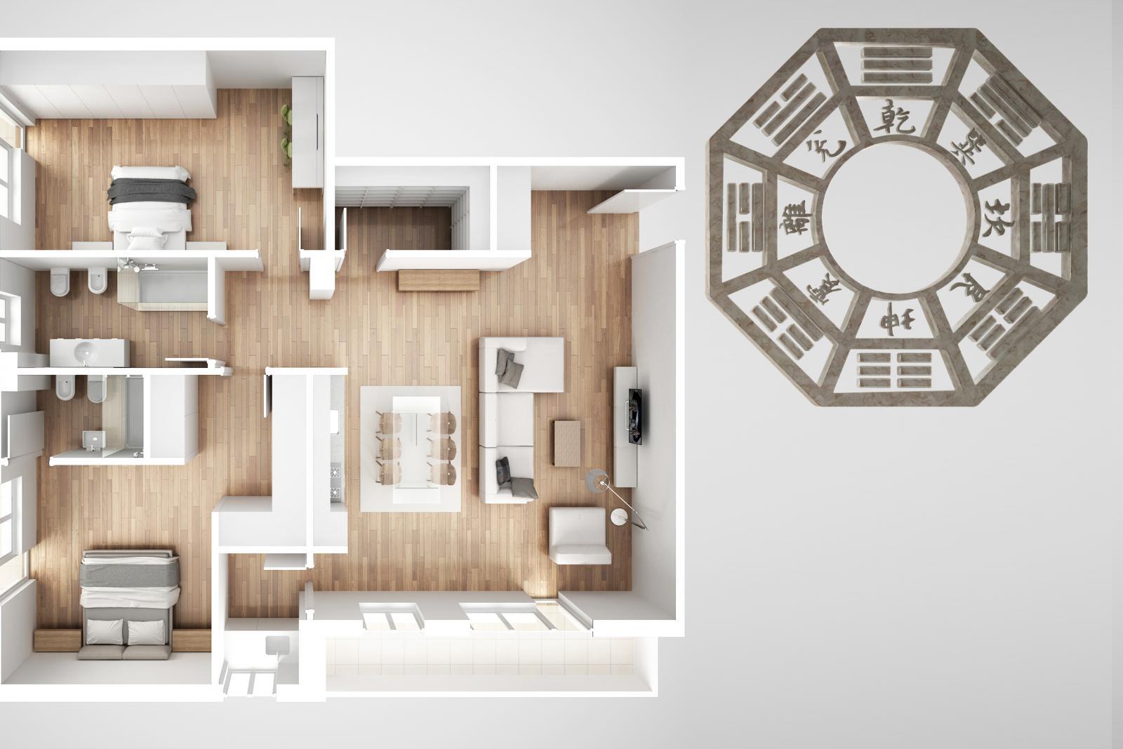 Diagrama de una casa y un bagua