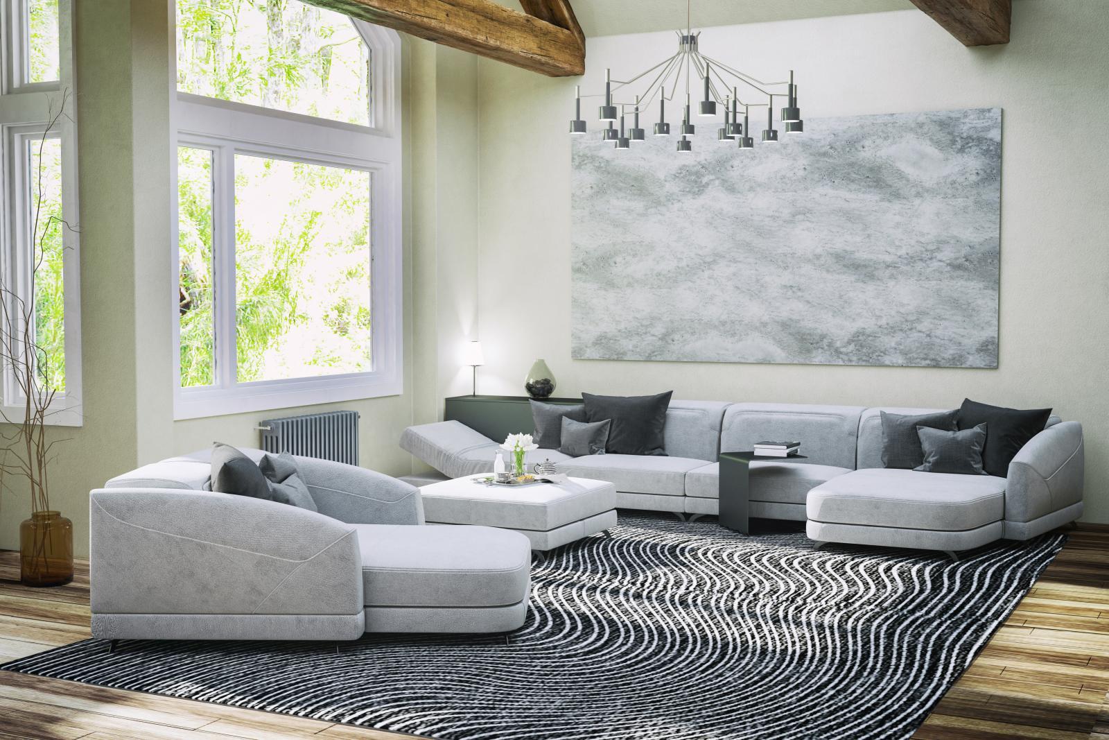 Salón con una alfombra de olas