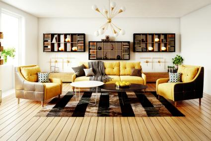 Salón escandinavo amarillo con alfombra de cuadrados