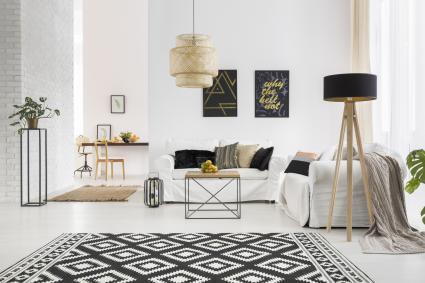 Salón blanco y negro con alfombra