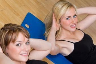 Women doing crunches