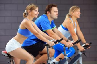 bicyclists at gym