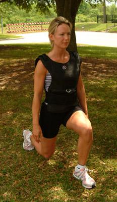 Woman wearing weighted vest