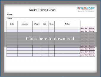 Blank weight training chart