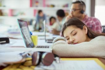 Sleeping at conference table