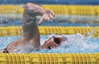 Women swimming freestyle