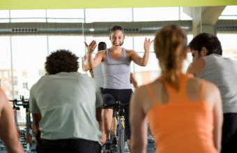 Fitness instructor leading class