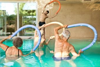 Exercising with pool noodles