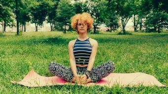 Woman performing a hip stretch