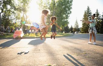 Cute sisters jump roping