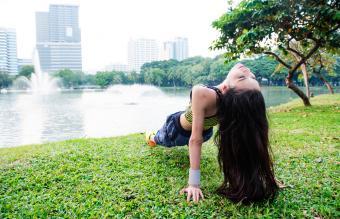 Woman doing a reverse plank