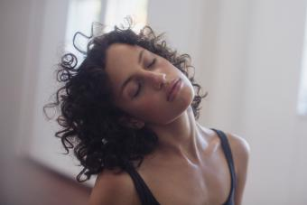 Woman doing neck exercise