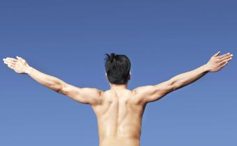 Bare chested Man Exercising