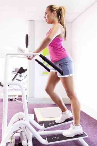 Girl exercising in gym