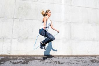 Woman jumping with a rope